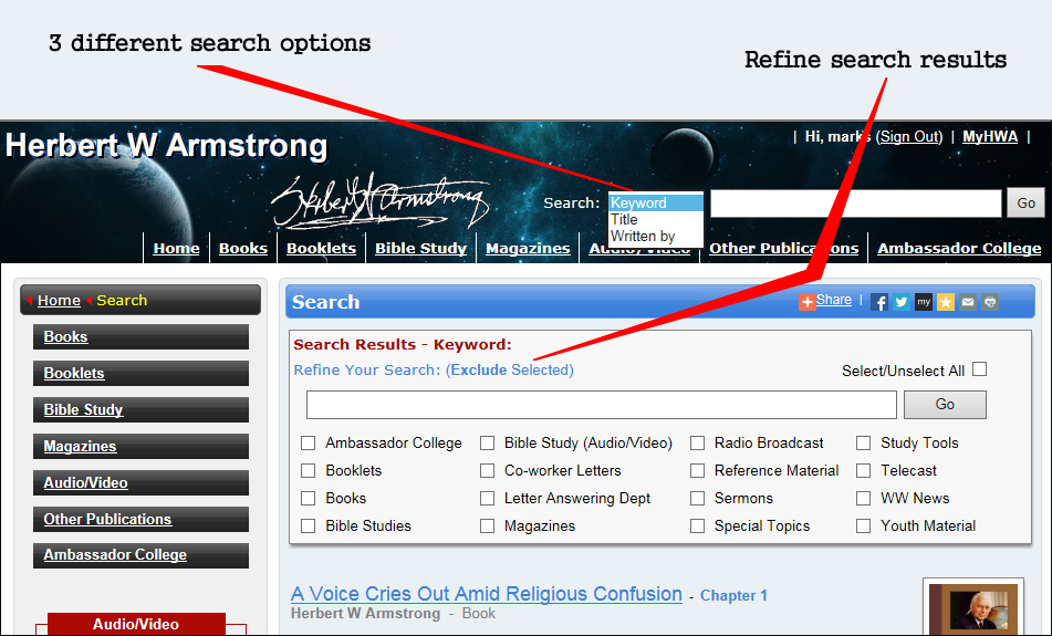 How to search by Keyword, Title or Written by and Refine search results.