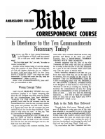 Lesson 17 - Is Obedience to the Ten Commandments Necessary Today?