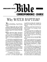 Lesson 25 - Why Water Baptism?