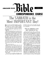 Lesson 28 - The Sabbath Is The Most Important Day!