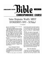Lesson 30 - Satan Originates World's MOST DANGEROUS DAY - SUNday!