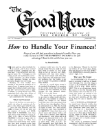 How to Handle Your Finances! Good News Magazine January 1962 Volume: Vol XI, No. 1