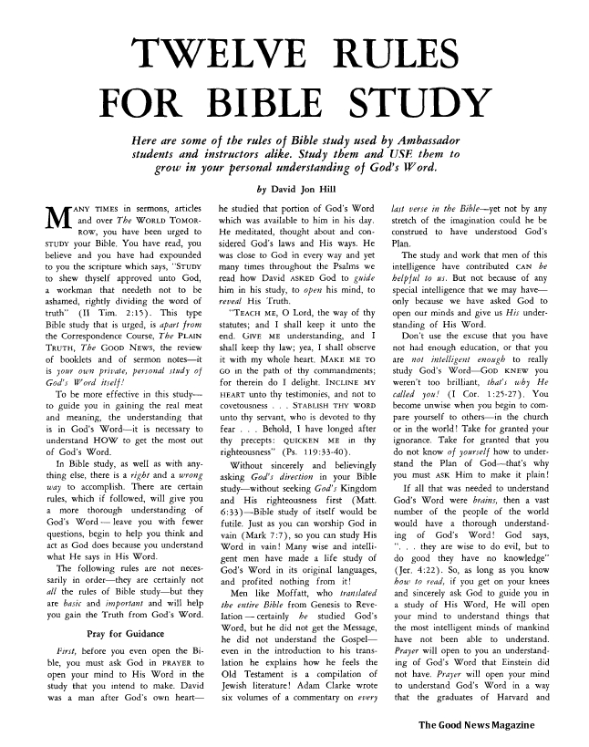 Twelve Rules for Bible Study