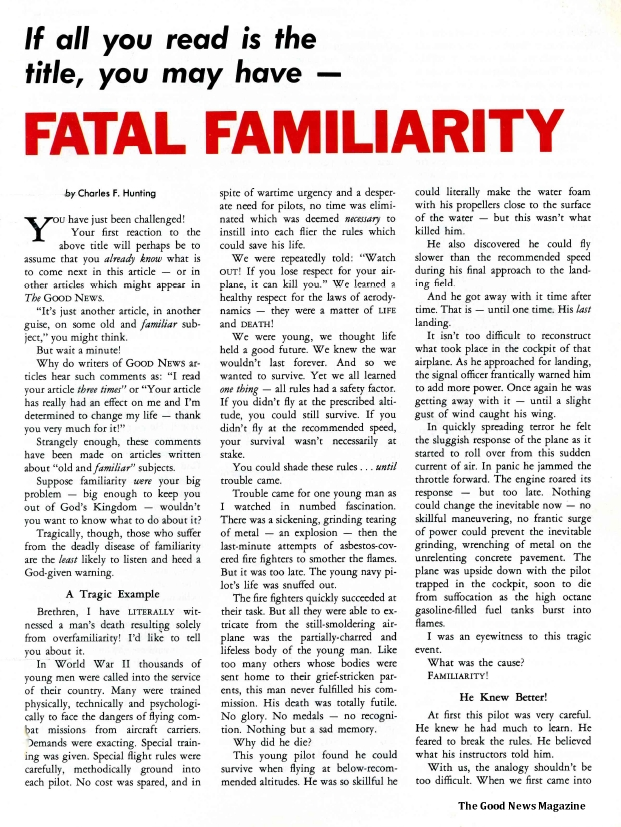If all you read is the title, you may have - FATAL FAMILIARITY