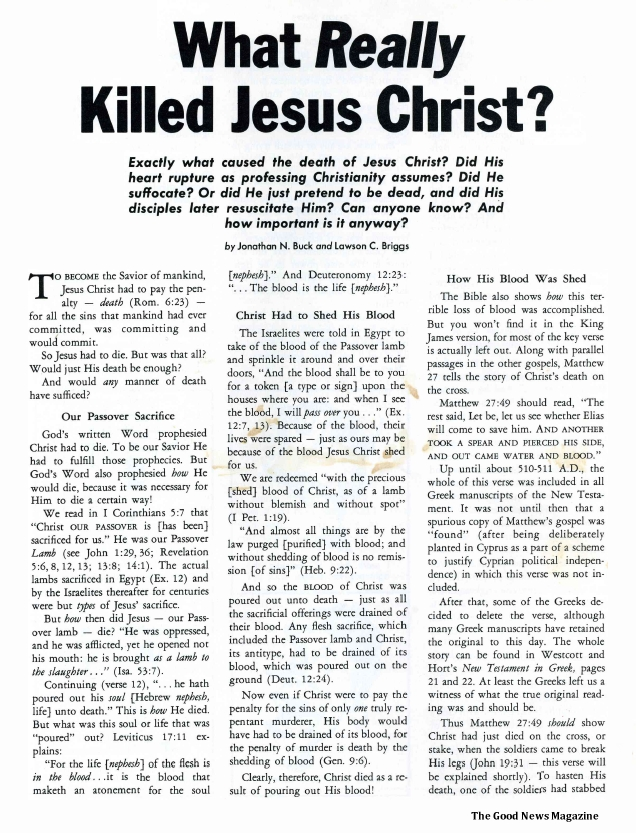 What Really Killed Jesus Christ?