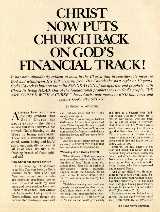CHRIST NOW PUTS CHURCH BACK ON GOD'S FINANCIAL TRACK!