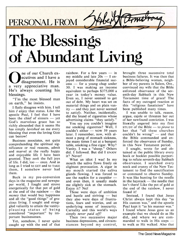 The Blessings of Abundant Living