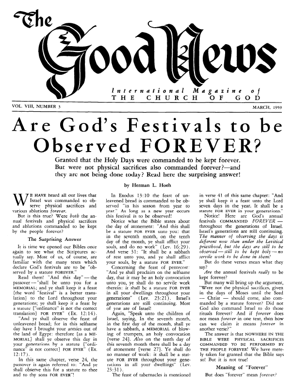 Are God's Festivals to be Observed FOREVER?