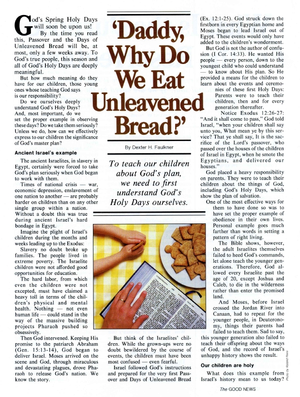 Daddy, Why Do We Eat Unleavened Bread?