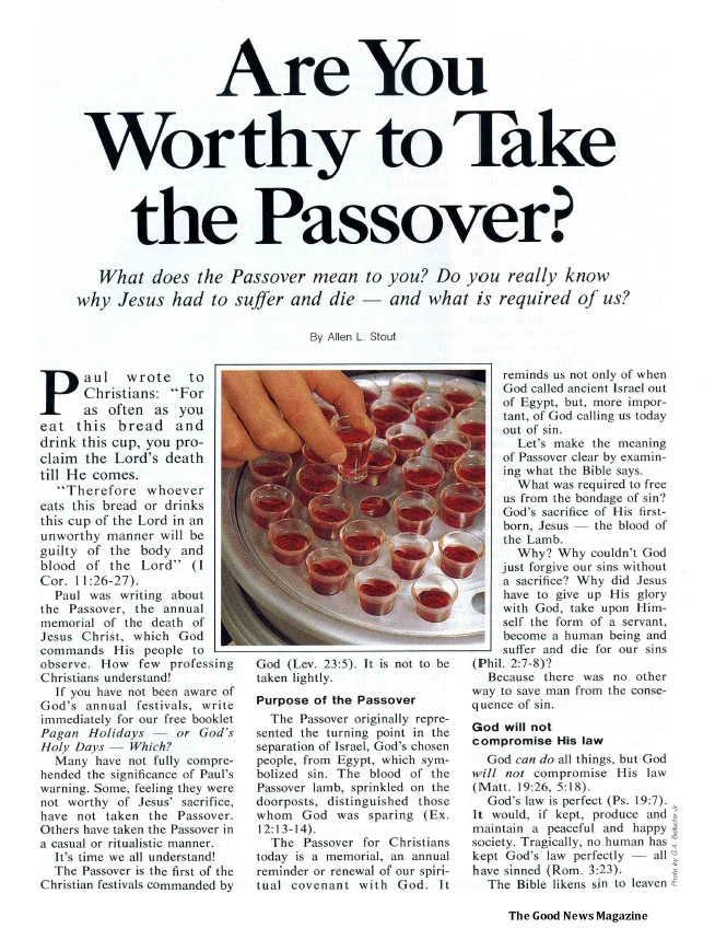 Are You Worthy to Take the Passover?