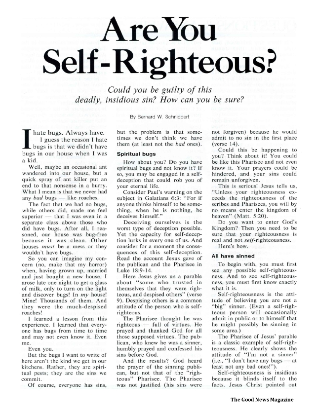 Are You Self-Righteous?