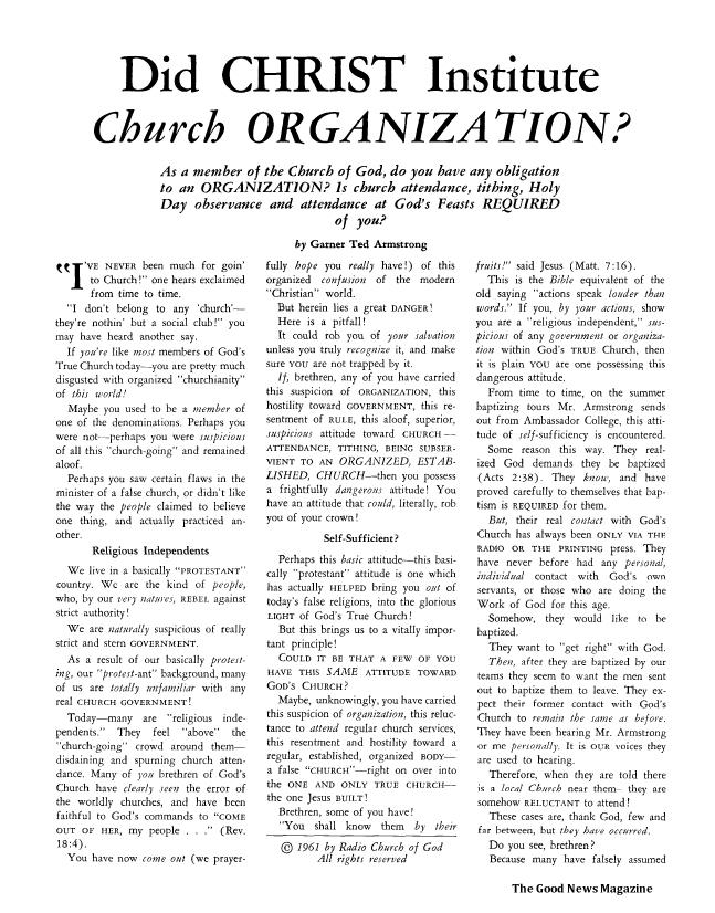 Did CHRIST Institute Church ORGANIZATION?