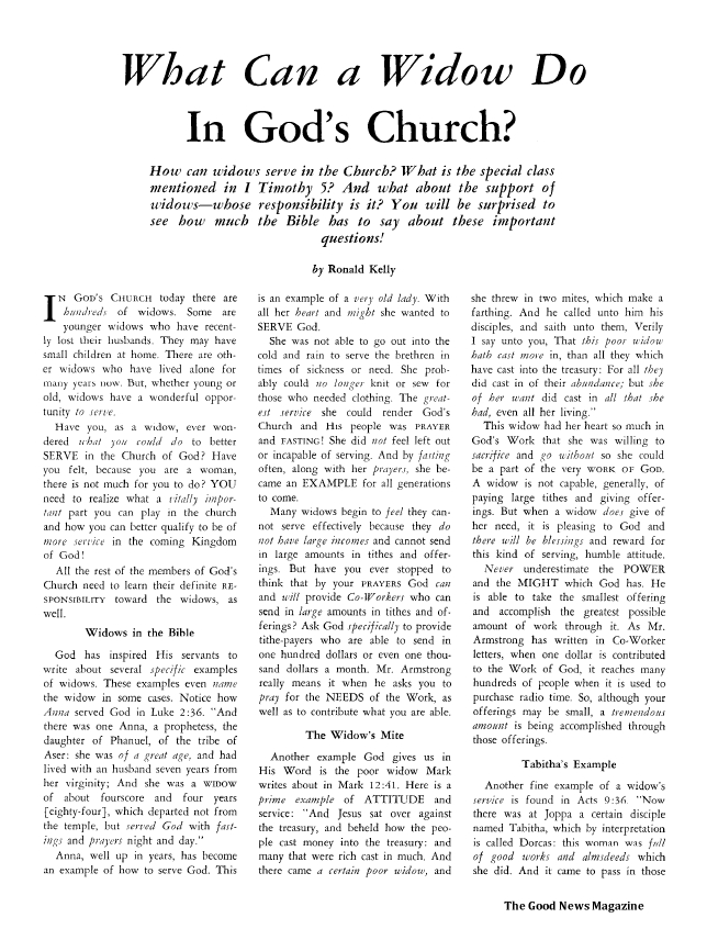 What Can a Widow Do In God's Church?
