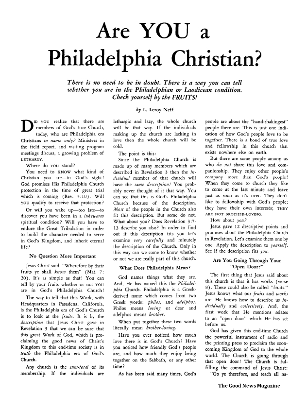 Are YOU a Philadelphia Christian?