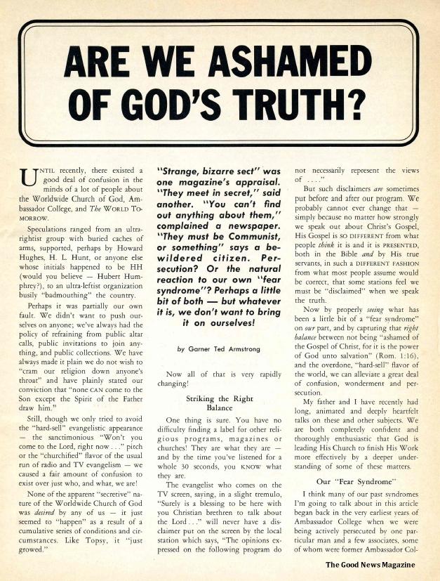 Are We Ashamed of God's Truth?
