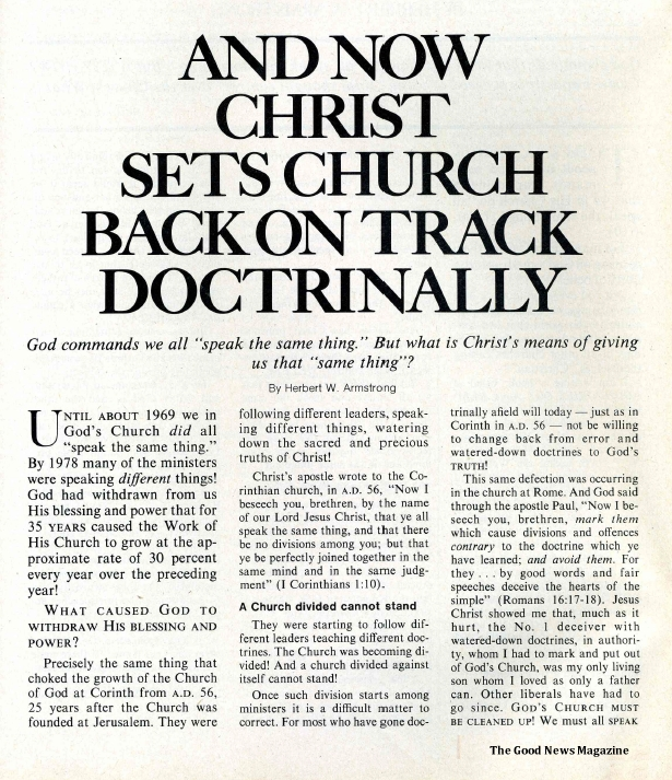 And NOW Christ Sets Church Back On Track Doctrinally