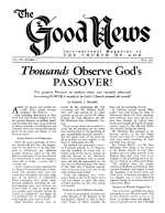 Thousands Observe God's PASSOVER! Good News Magazine May 1959 Volume: Vol VIII, No. 5