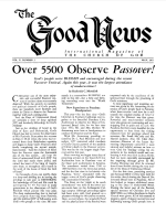Over 5500 Observe Passover! Good News Magazine May 1961 Volume: Vol X, No. 5