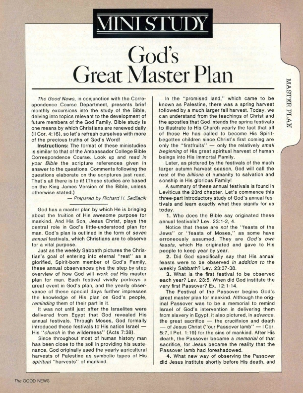 MINISTUDY: God's Great Master Plan - Part 1