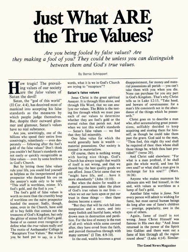 Just What ARE the True Values?