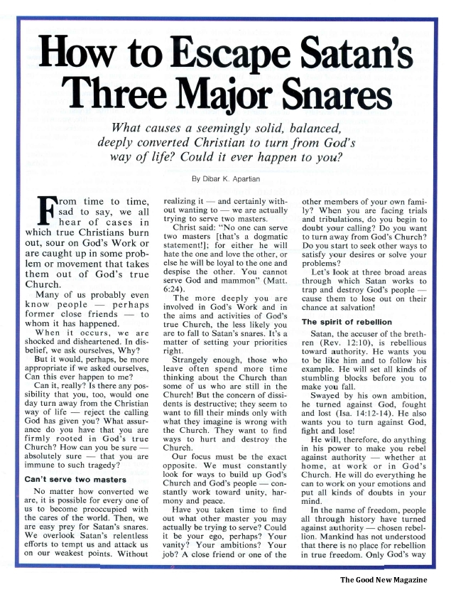 How to Escape Satan's Three Major Snares