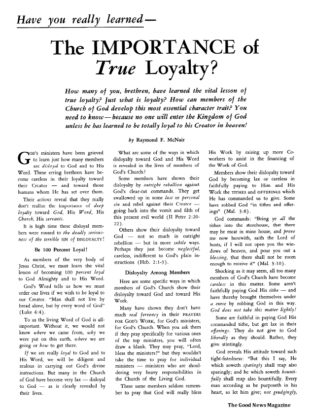 Have you really learned - The IMPORTANCE of True Loyalty?