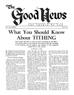 What You Should Know About TITHING Good News Magazine July 1959 Volume: Vol VIII, No. 7