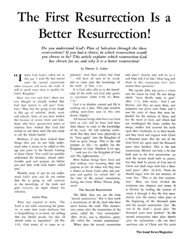 The First Resurrection Is a Better Resurrection!