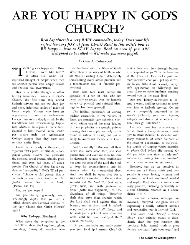 Are You Happy in God's Church?