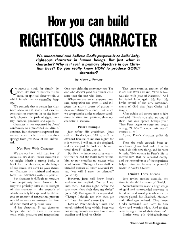 How you can build RIGHTEOUS CHARACTER
