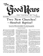 Two New Churches! - Hundreds Baptized! Good News Magazine August 1961 Volume: Vol X, No. 8