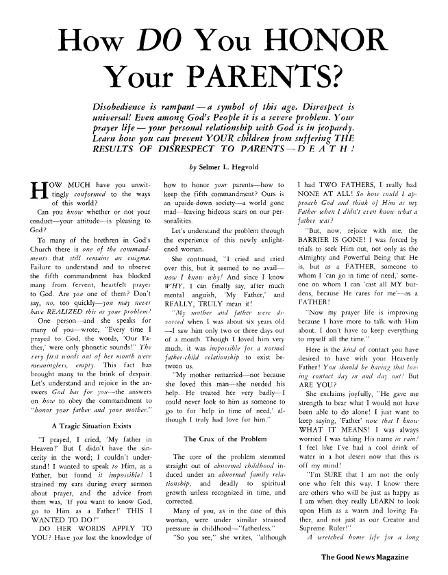 How DO You HONOR Your PARENTS?