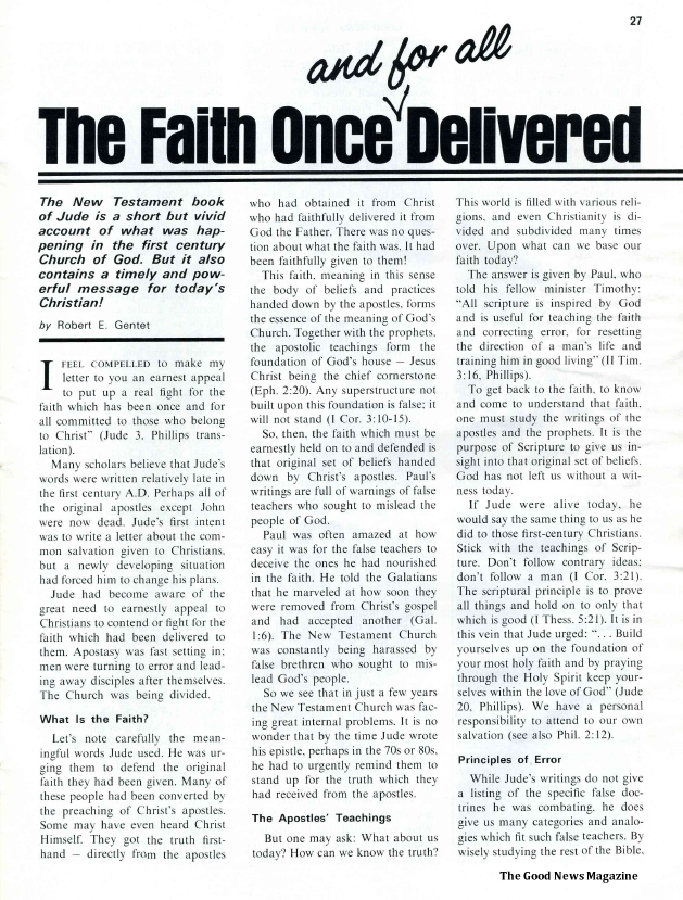 The Faith Once and for All Delivered