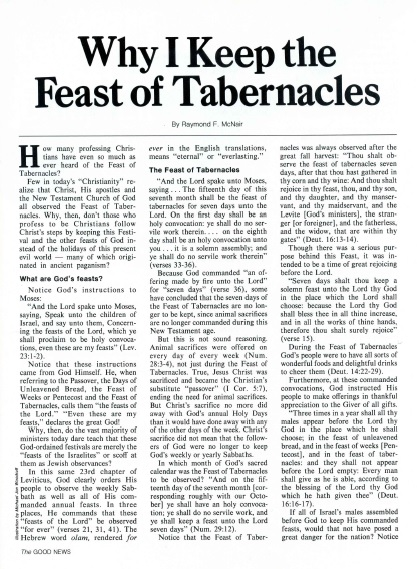 Why I Keep the Feast of Tabernacles
