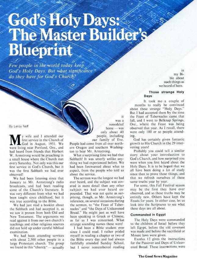 God's Holy Days: The Master Builder's Blueprint
