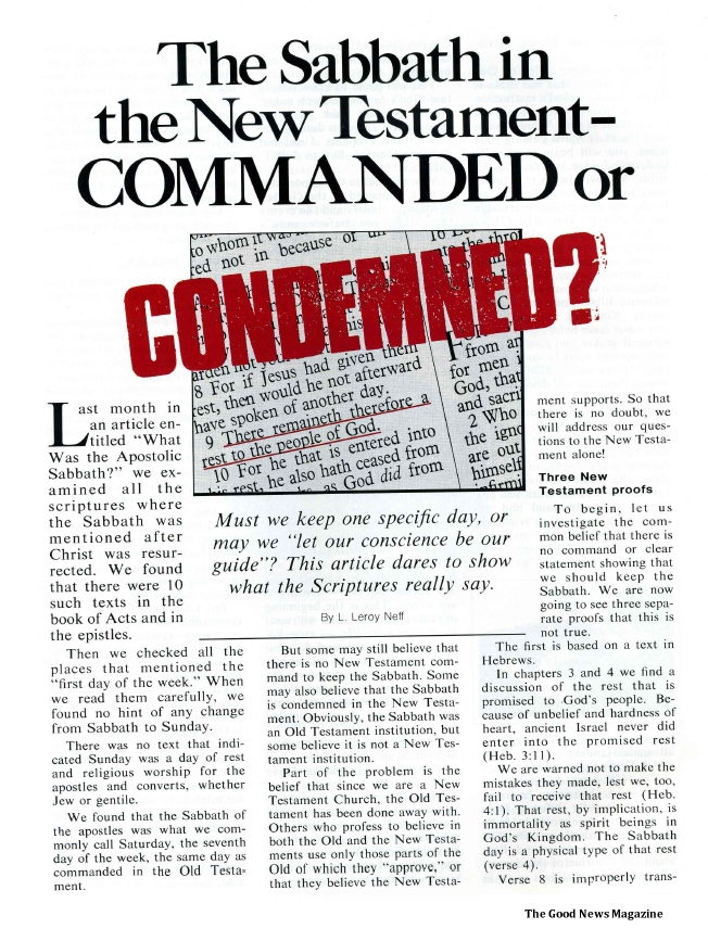 The Sabbath in the New Testament - Commanded or Condemned?