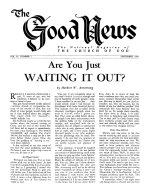 God's Vacation Plan for YOU Good News Magazine September 1954 Volume: Vol IV, No. 7