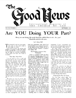 Are YOU Doing YOUR Part? Good News Magazine September 1960 Volume: Vol IX, No. 9