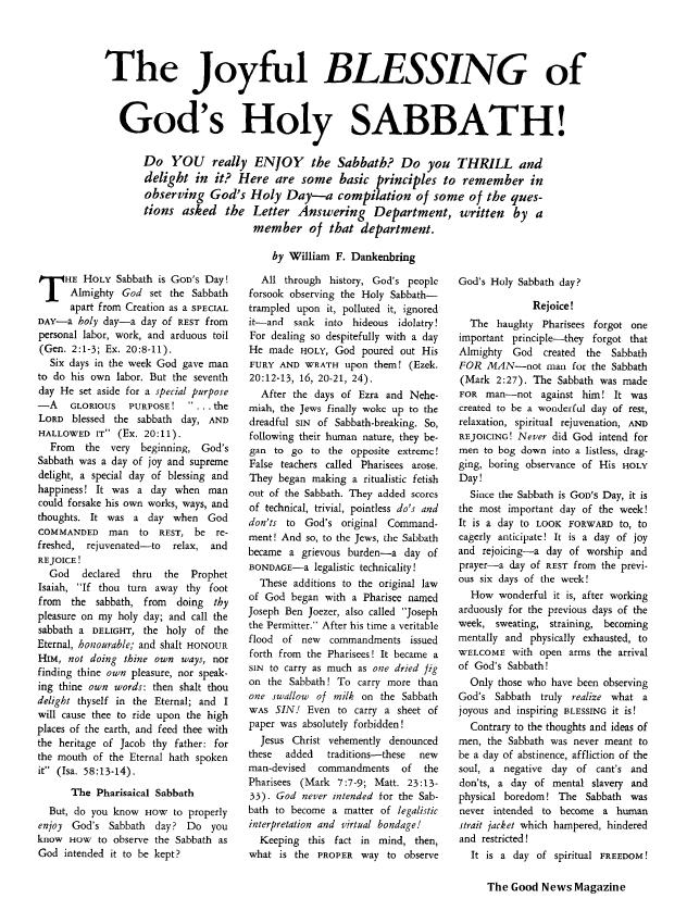 The Joyful BLESSING of God's Holy SABBATH!
