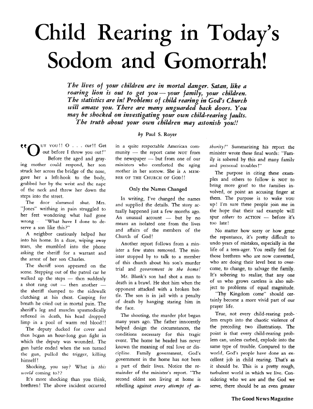 Child Rearing in Today's Sodom and Gomorrah!