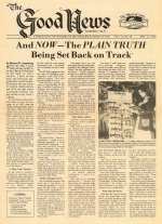 And Now – The Plain Truth Being Set Back On Track Good News Magazine September 11, 1978 Volume: Vol VI, No. 19