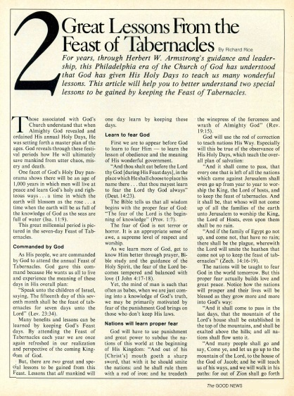 2 Great Lessons From the Feast of Tabernacles