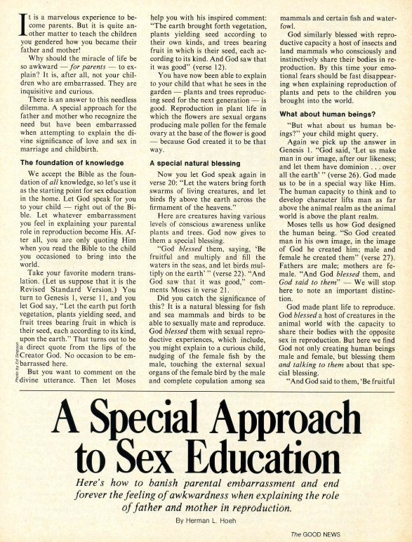 A Special Approach to Sex Education
