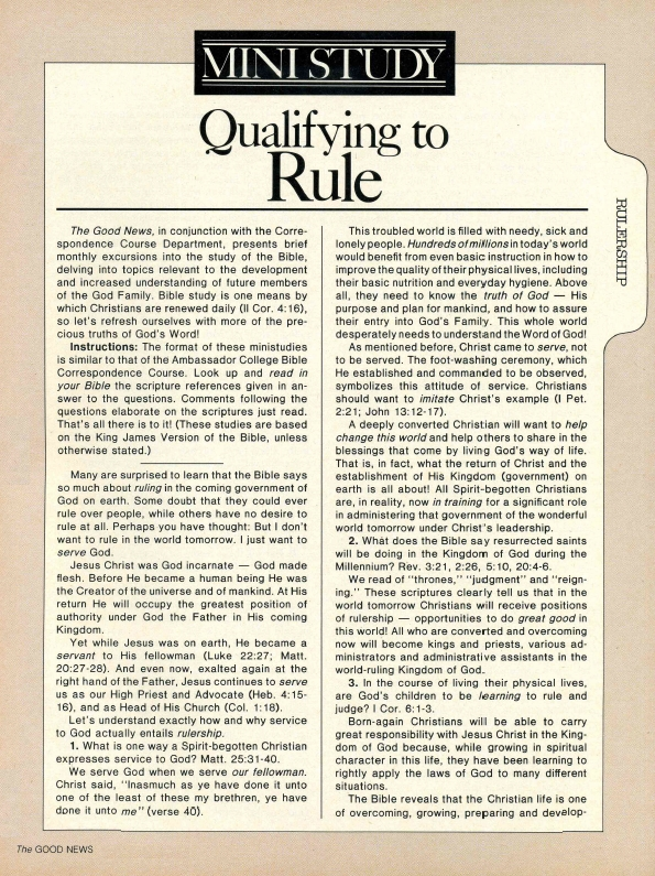 MINISTUDY: Qualifying to Rule