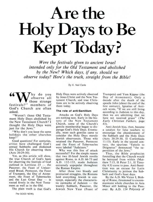 Are the Holy Days to Be Kept Today?