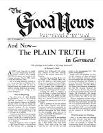 And Now - The PLAIN TRUTH in German! Good News Magazine October 1961 Volume: Vol X, No. 10