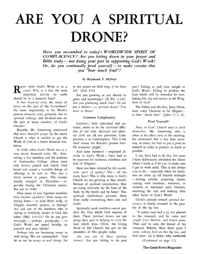 Are You a Spiritual Drone?