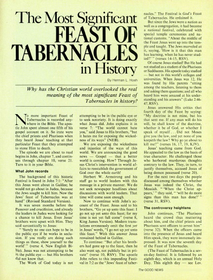 The Most Significant FEAST OF TABERNACLES in History