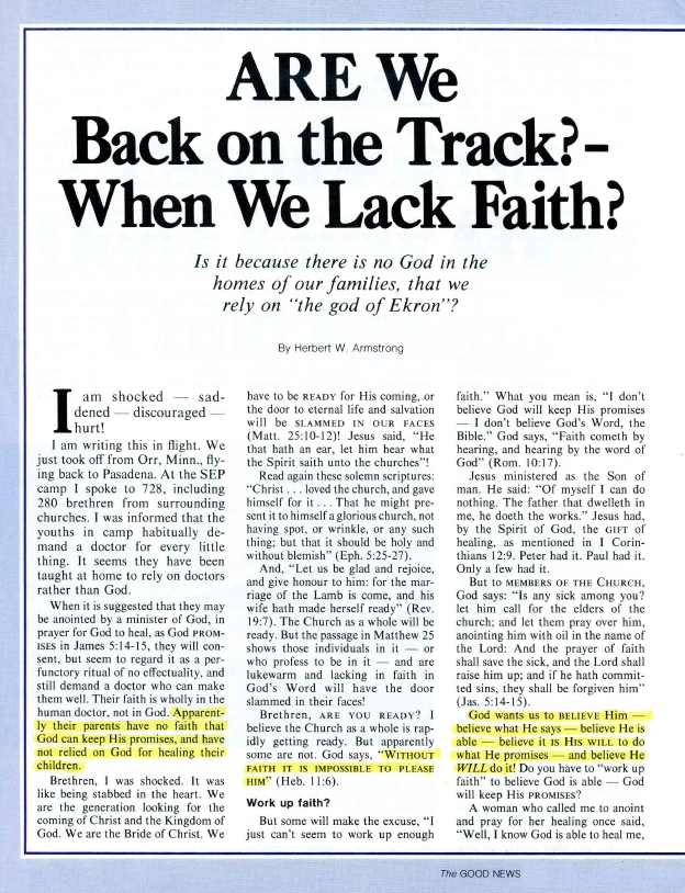 ARE We Back on the Track? - When We Lack Faith?
