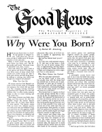 EVOLUTION without miracles? Good News Magazine November 1951 Volume: Vol I, No. 11